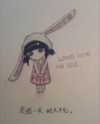 手绘插画伤感小兔女