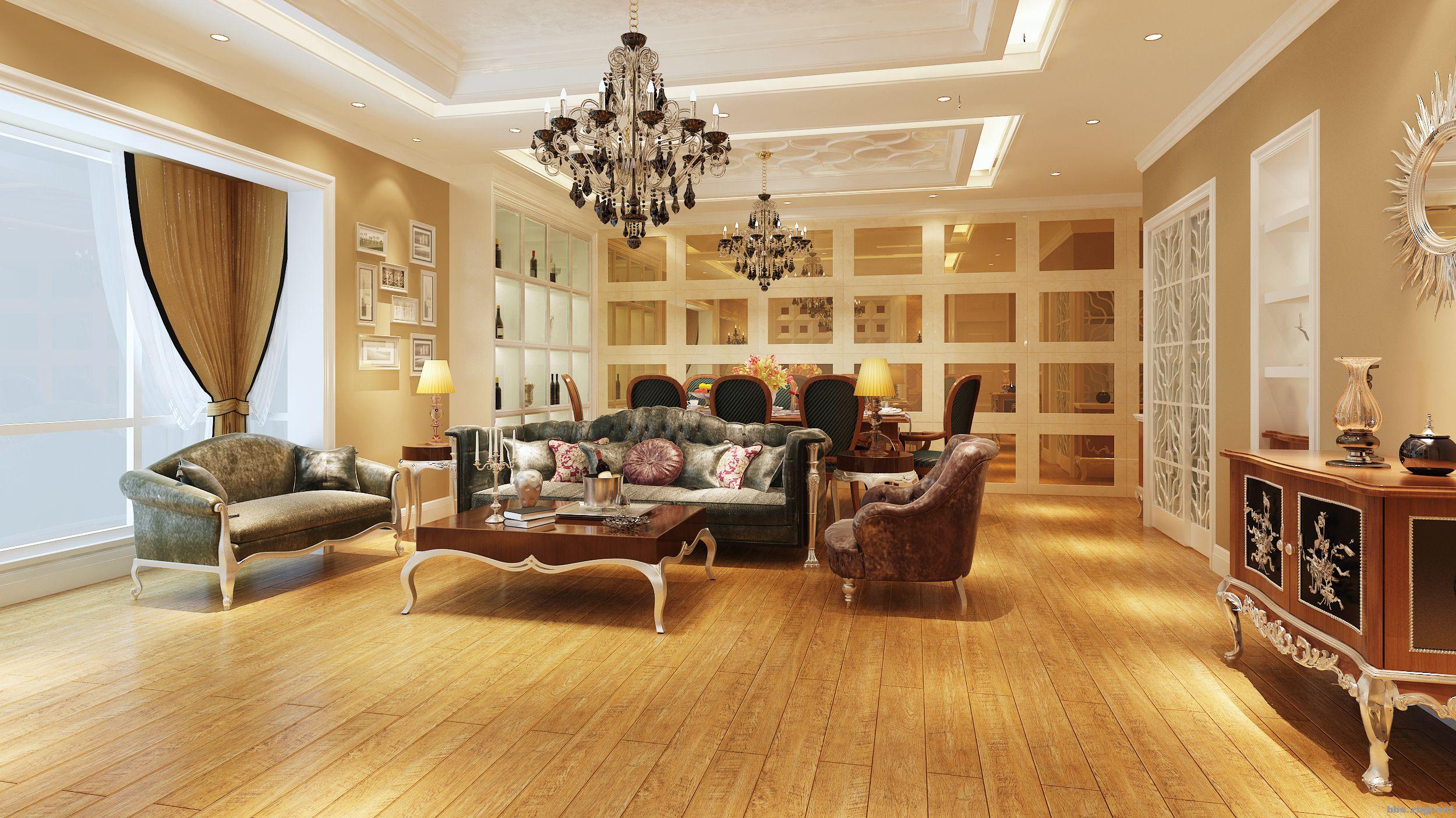欧式客厅木地板餐厅装修效果图