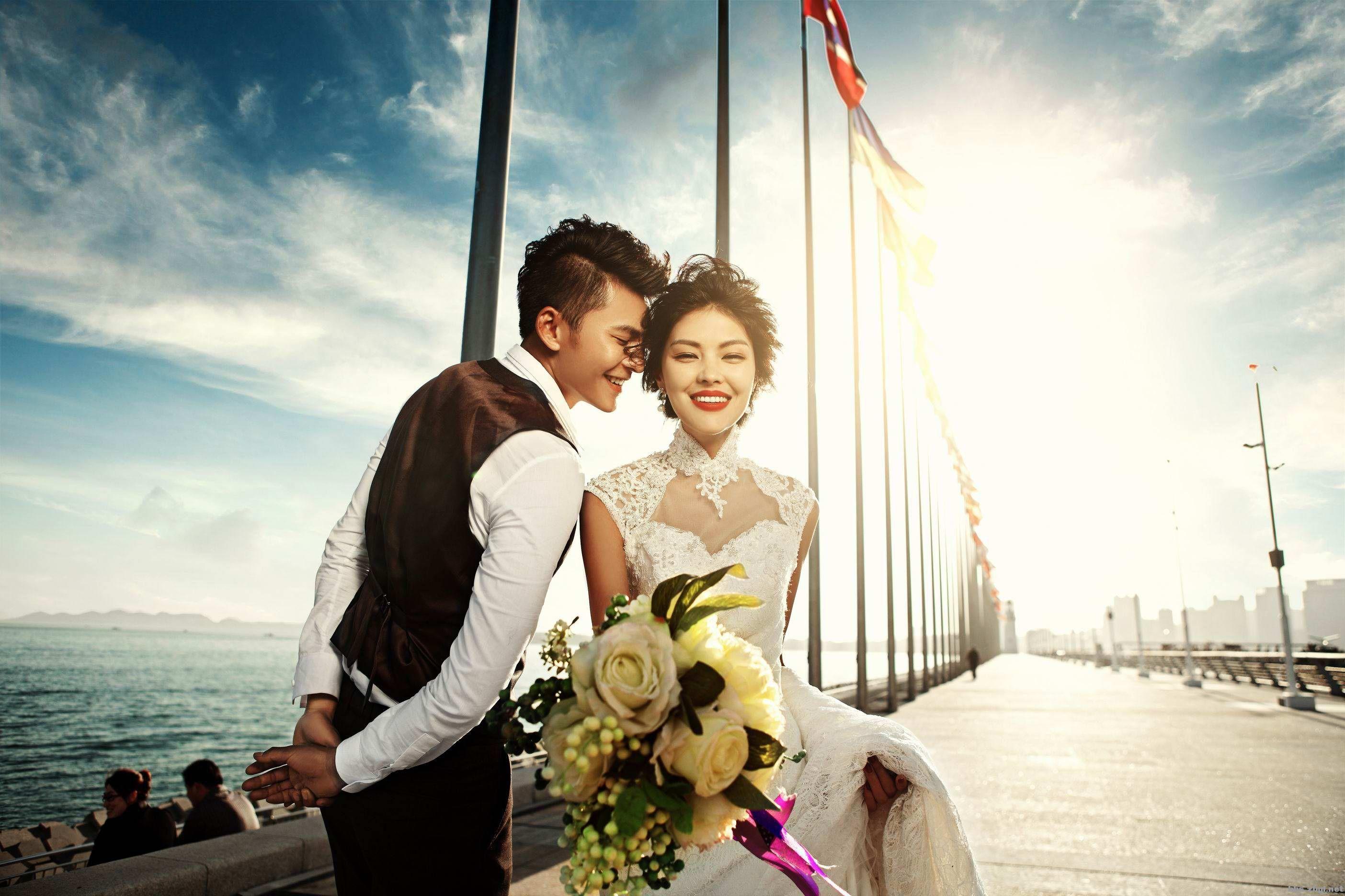 【淄博苏菲亚婚纱摄影】分享青岛海边婚纱照