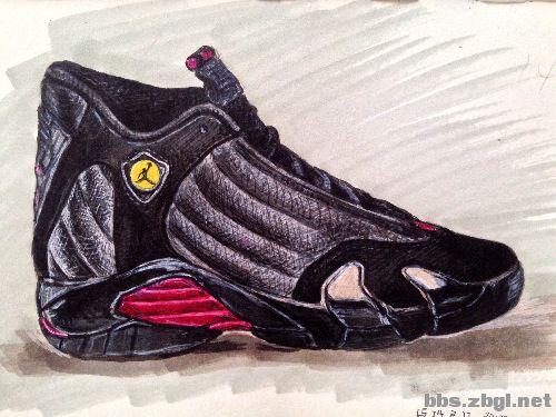 出售手绘收藏画 乔丹 nike篮球鞋