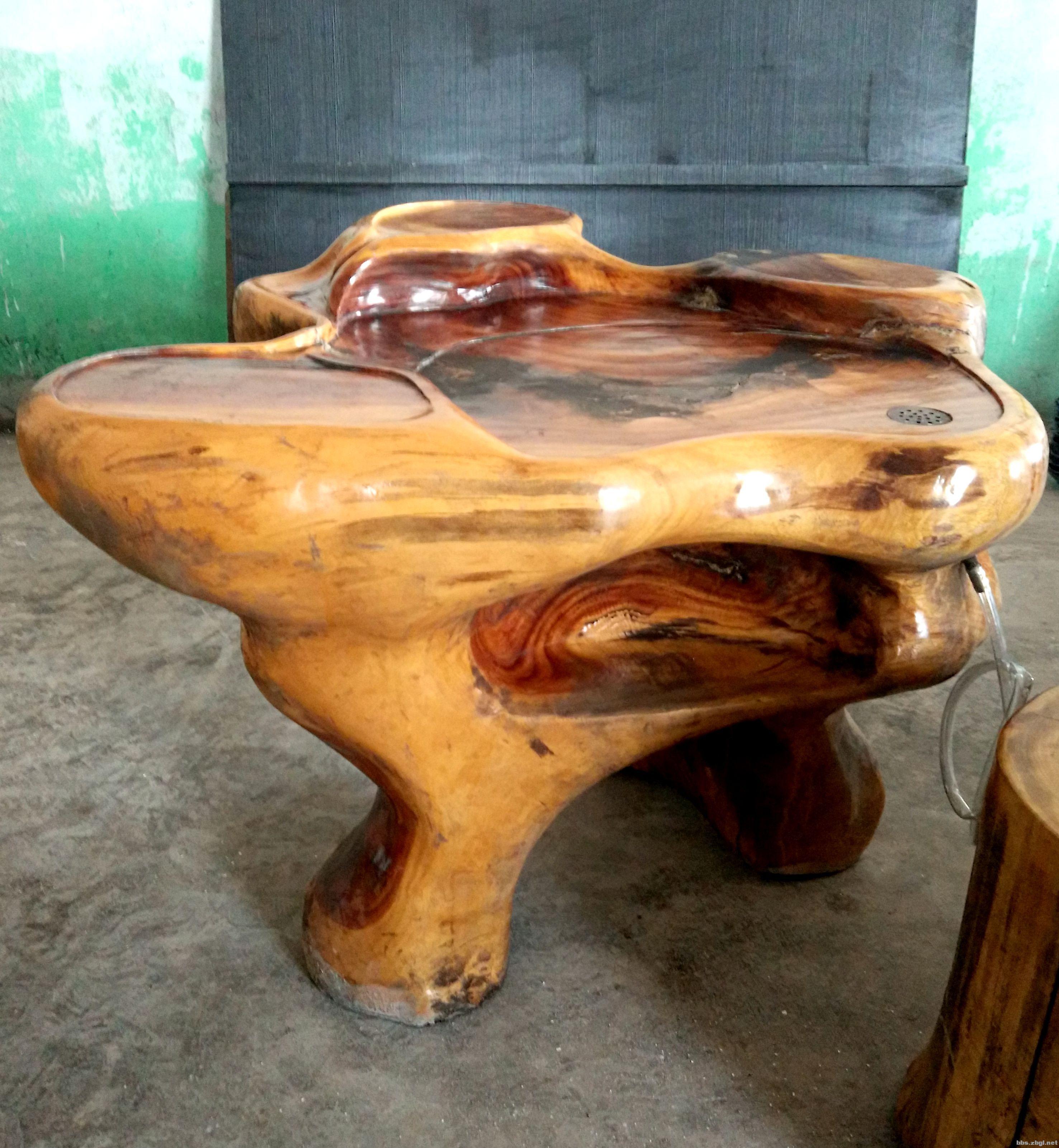 树根茶桌 根雕茶几实木功夫茶桌 带三个树墩子