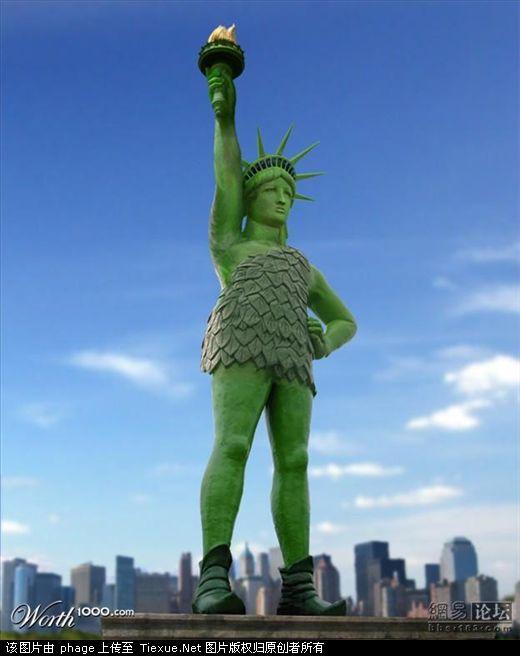 """雷人/美国一个名为worth1000的设计网站举行了一次""""自由女神像""""PS..."""