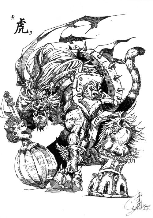 十二生肖虎可爱简笔画